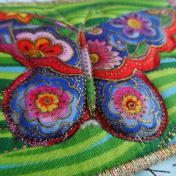 Quilted  Postcard - Laurel Burch Butterflies - Handmade  Postcard - Fabric  Postcard - Patchwork  - Artist Postcard - Birds Post Card