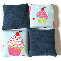 Denim & Cupcake Flannel Bean Bags Light Blue Pink Green Girls Toy Party Favor (set of 4) Classic Child's Toy - US Shipping Included