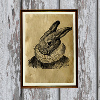 Animal decoration Rabbit print Bunny poster Antique illustration 8.3 x 11.7 inches
