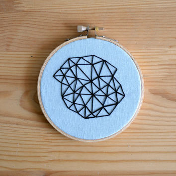 Geometric Mini Embroidery Hoop Art - 4 inch Wall Hanging - Black Minimalist Prism Design
