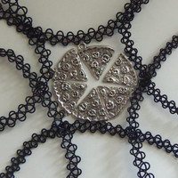 Friendship necklaces black stretchy 90s grunge tattoo chokers with pizza slices