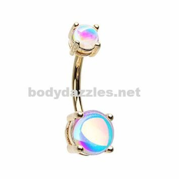 Golden Revo Sparkle Prong Set Belly Button Ring 14ga Navel Ring Surgical Steel Body Jewelry