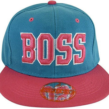 Boss Adjustable OSFA Flat Bill Snapback Baseball Hat Cap Teal Blue and Pink