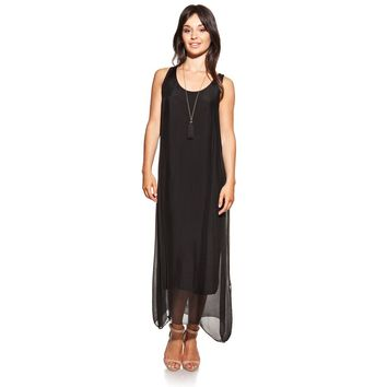 Maxi silk black dress with side openings