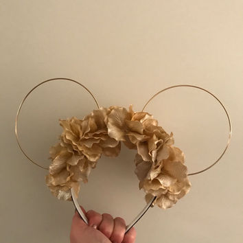 Gold Glitter Flower Crown Mouse Ears
