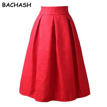 BACHASH New Faldas Summer Style Vintage Skirt High Waist Work Wear Midi Skirts Womens Fashion Red Black Jupe Femme Saias