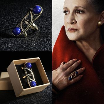 2017 Star Wars The Last Jedi Leia Princess Ring Cosplay Blue Vintage With Sapphire Female Rings Chrismas New Year Gift For Woman