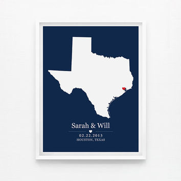 Personalized Wedding Gift - Texas Custom Location and State Map 8x10 Map Print