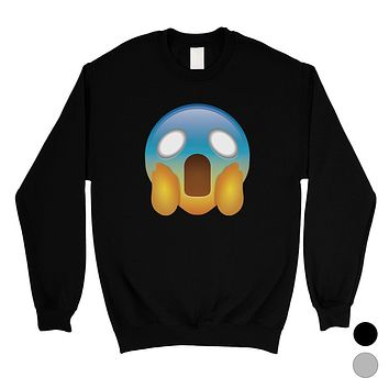 Emoji-Screaming Unisex Crewneck Sweatshirt Shocked Funny Gag Gift