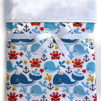 baby blanket nautical baby boy flannel blanket  nursery crib blanket receiving girl  gift  gender neutral baby blanket fish blanket