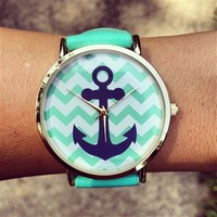 Mint Chevron Anchor Watch