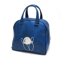 Vintage Bowling sports bag. Day bag, Weekend bag, Blue faux leather with white bowling ball and pins illustration on both sides.