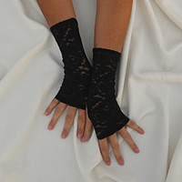 Morticia II Black Lace Fingerless Gloves - Stretch Lace Fingerless Gloves