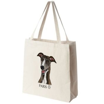 Greyhound Extra Large Eco Friendly Reusable Cotton Canvas Tote Bag