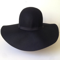 100 Percent Wool Plain Floppy Sun Hat Black
