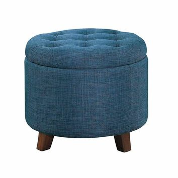 Button Tufted Wooden Round Storage Ottoman Upholstered In Fabric, Blue & Brown