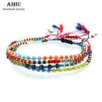AMIU 2017 Handmade Friendship Bracelet Hippie Colorful Seed Beads Charm 1PCZ-G Love Trendy Bracelet For Women Men Dropshipping