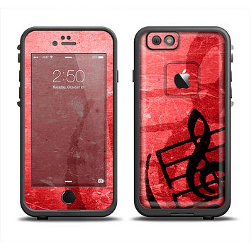 The Scratched Red Surface with Black Music Note Apple iPhone 6/6s LifeProof Fre Case Skin Set