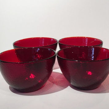 Ruby Glass Bowls Set of 4, Ruby Glass Cereal Bowls