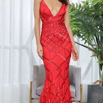 All Dressed Up Red Sequin Geometric Pattern Sleeveless Spaghetti Straps V Neck Backless Feather Trumpet Maxi Dress