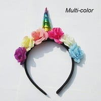Flowery Unicorn Horn Headband in Rainbow Multi-Color