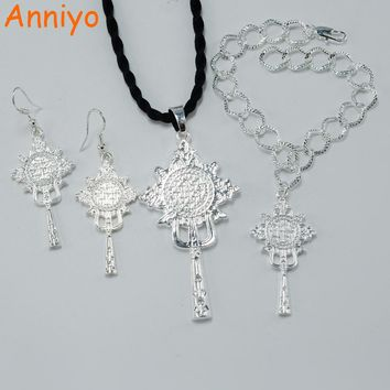 Anniyo Bright Silver Color Ethiopian Cross set Jewelry Pendant Earring Bracelet Eritrean Africa Bridal Wedding