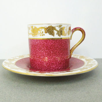 Wedgwood Bond Shape Demitasse Cup Saucer Set in Whitehall-Powder Ruby Band w3994 - gold grape vine