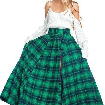 Zipper Hem Flannel Plaid Maxi Skirt