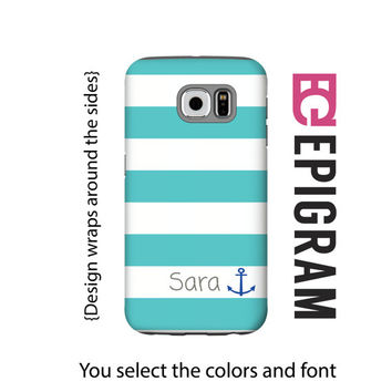 Aqua stripes personalized Samsung Galaxy S6 case, anchor Galaxy S6 case, custom Galaxy S5 case, Galaxy S4 case, Samsung Galaxy tough case