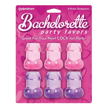 Bachelorette Party Favors Pecker Shot Glasses - Pack of 6