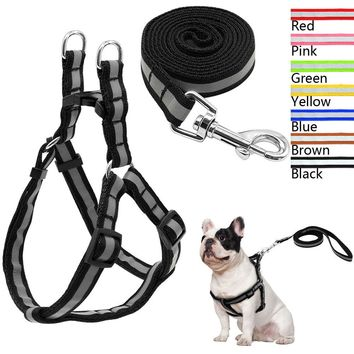 Reflective Nylon Strap Dog Harness&Leash for Small Dogs Chihuahua French Bulldog