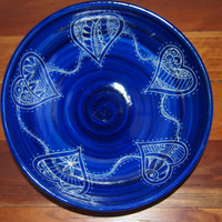 BOWL pottery serving bowl handmade and hand decorated patchwork  HEARTS design royal blue