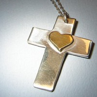 Sterling silver cross with brass heart handmade with love