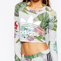 adidas Originals Adicolour Long Sleeve Crop Top With Trefoil Logo In Botanical Floral at asos.com