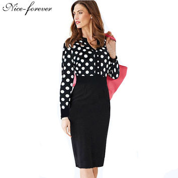 Polka Dot Elegant formal Autumn Long Sleeve dress women Celebrity Ruched Bodycon  Evening Shift Pencil Midi party Dress 969