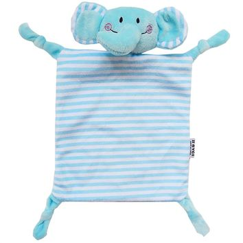 Infant Teething Cloth Soft Square Striped Plush Snuggle Teether Blanket
