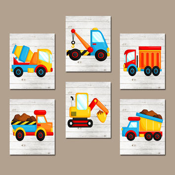 CONSTRUCTION Wall Art, Truck Pictures, Big Boy Bedroom, CANVAS or Prints, Baby Boy Nursery Artwork, Dump Truck, Tractor, Theme Set of 6