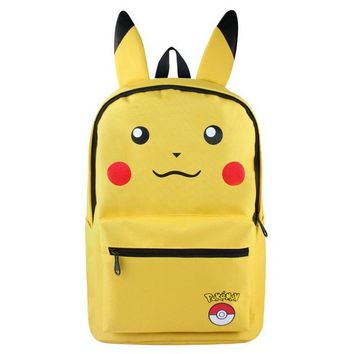 Anime Backpack School MeanCat Japanese kawaii cute Pokemon Character Glaceon Backpack in Blue Nylon with Zippers and Side Bags AT_60_4
