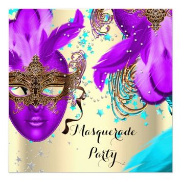Masquerade Party Pink Purple Teal Blue Cream Masks