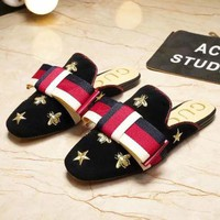 GUCCI tide brand female retro embroidered velvet bow colorful square slippers