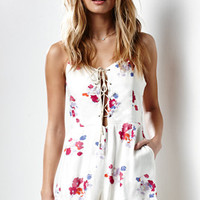 MinkPink Falling Blooms Tie Front Romper at PacSun.com