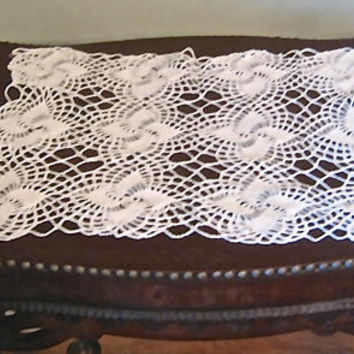 "Vintage Crocheted Doily, 22"" x 16"" Table Scarf, White Table Runner, Crochet Centerpiece, Rectangular Table Scarf, Vintage Wedding Linens"