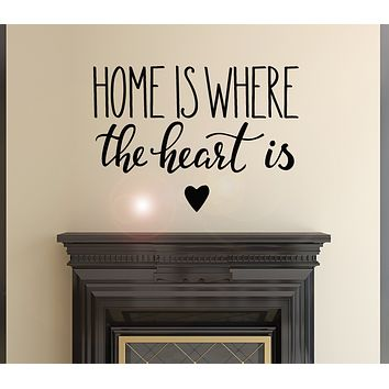Vinyl Wall Decal Inspiring Quote Home Is Where The Heart Is Stickers Mural 22.5 in x 16 in gz161
