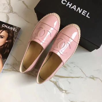 Chanel Fashion All-match Patent Leather Weave Loafer Flats Shoes Casual Genuine Leather Espadrilles Single Shoes