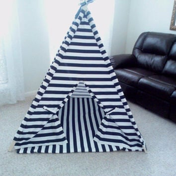 Teepee Navy and White Horizontal Stripe Tent and Mat , Tent , Kids Fort , Play Tent