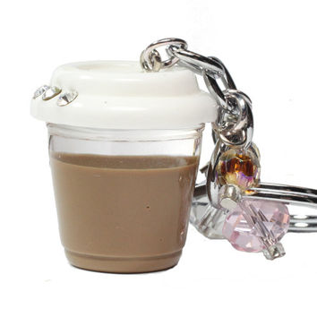 Miniature Coffee Cup Keychain - Kawaii cute miniature food charm - caffeine keyring