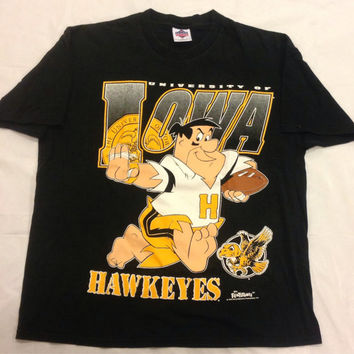 Vintage Iowa Hawkeyes Fred Flintstone Football T-Shirt