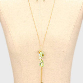 """28"""" mint gold chain tassel faceted glass stone fringe long necklace 1"""" earrings"""
