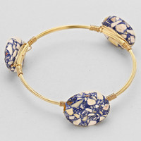Mosaic Natural Stone Wire Bangle Adjustable Bracelet Blue Gold