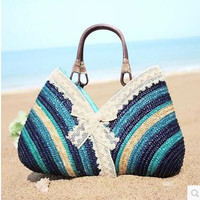 Lady Handbag New Summer New Hit Color Straw Bag Lace Beach Bag Holiday Seaside Shoulder Bag Women 4 Color Woven Package